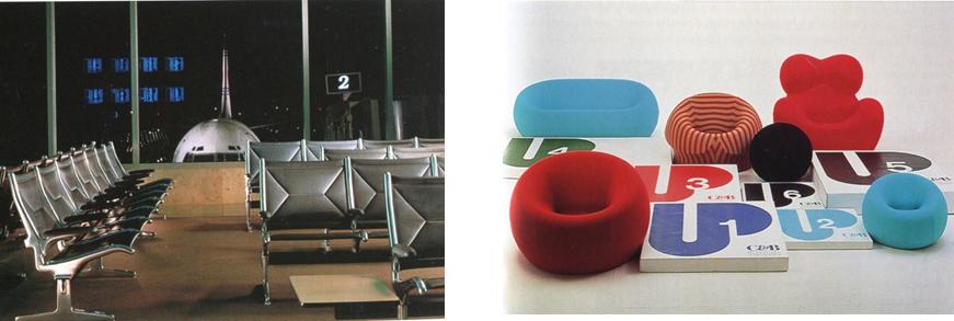 <p>新機能主義的椅子與普普運動的椅子</p>