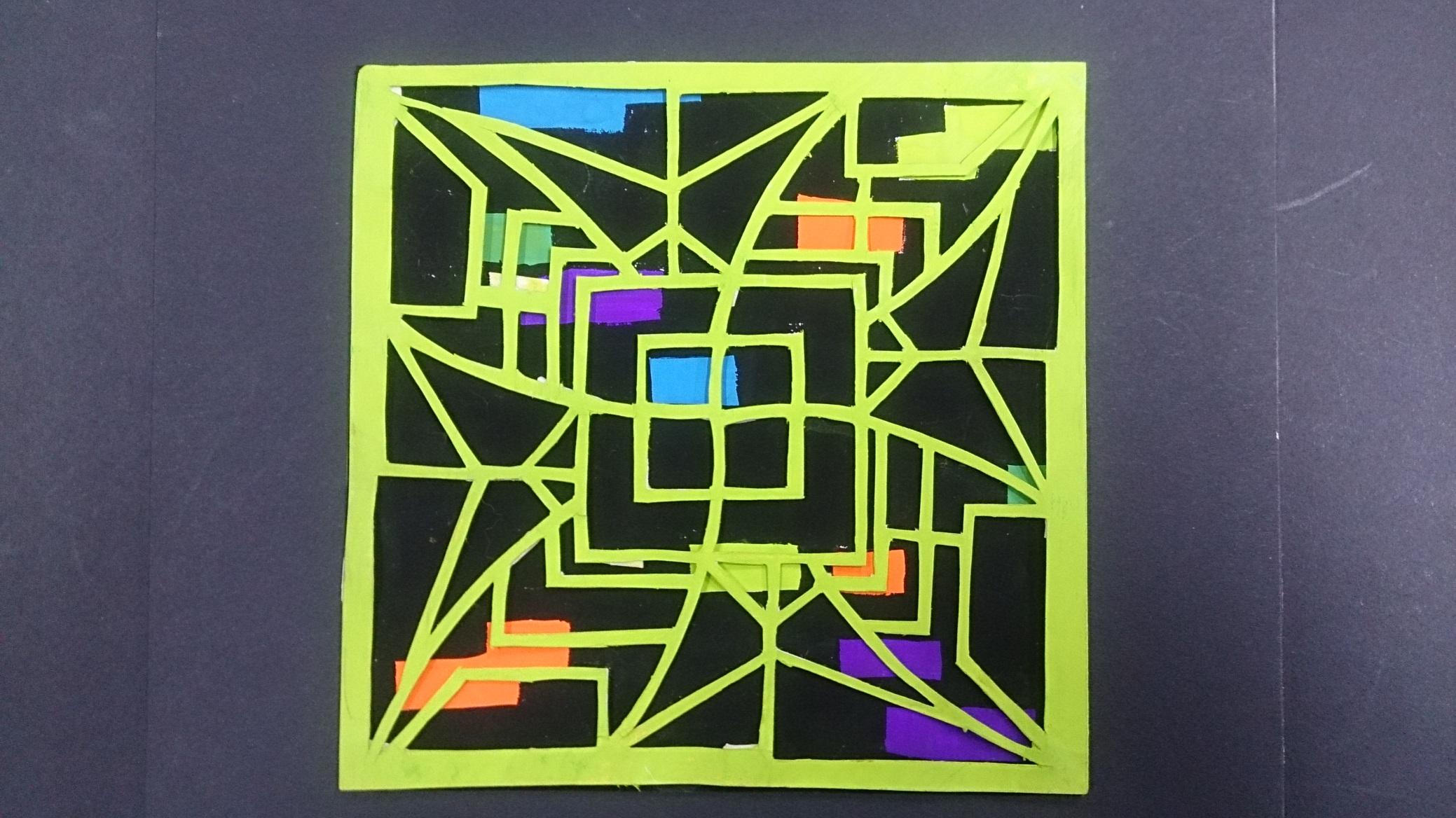 文字窗花造型设计  正方形:两组补色 长方形:两组对比色,两组类似色