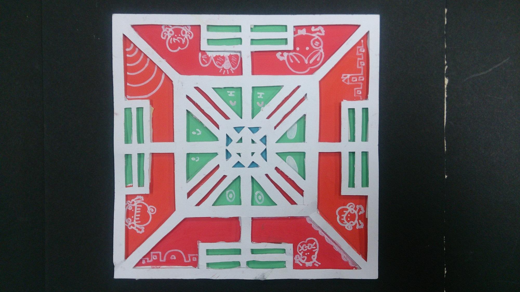 正方形:两组补色   长方形:两组对比色,两组类似色   正方形和长方形