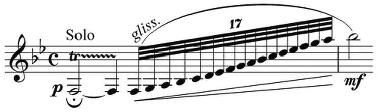 "<p style=""text-align: left;""><span style=""font-size:20px;"">〈藍色狂想曲〉著名之單簧管滑音前奏譜例。</span></p>"