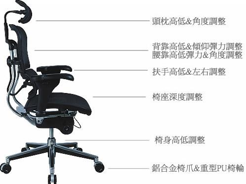 <p><b><i>人體工學椅示意圖 &nbsp;</i></b></p>